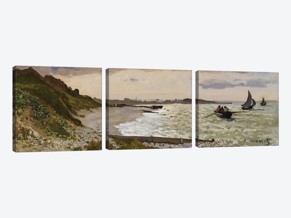 The Seashore at Sainte-Adresse, 1864  by Claude Monet 3-piece Canvas Print