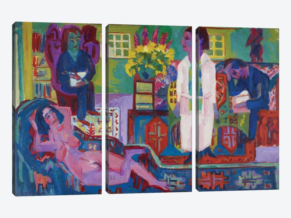 Modern Bohemia, 1924  by Ernst Ludwig Kirchner 3-piece Canvas Print