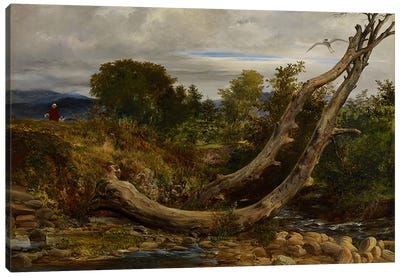 The Heron Disturbed, c.1850 Canvas Art Print
