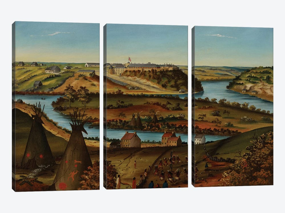 View of Fort Snelling, c.1850  by Edward K. Thomas 3-piece Canvas Print