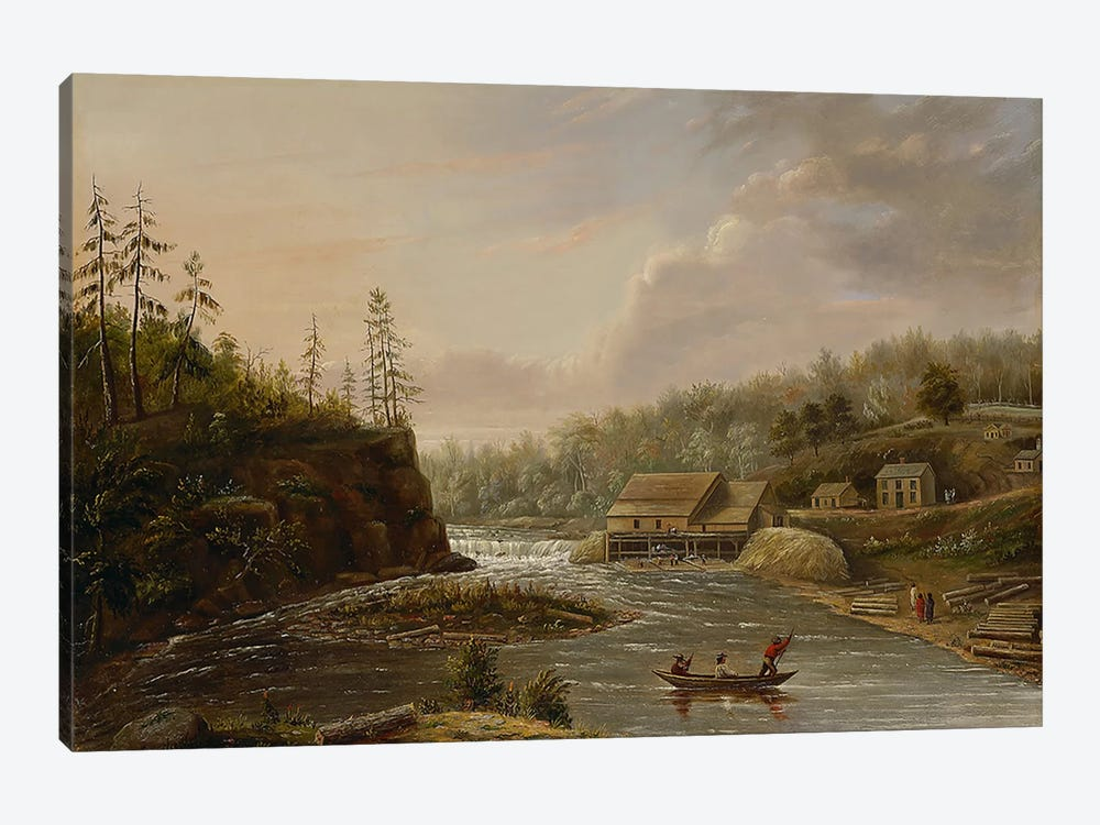 Cheever's Mill on the St. Croix River, 1847 by Henry Lewis 1-piece Canvas Print