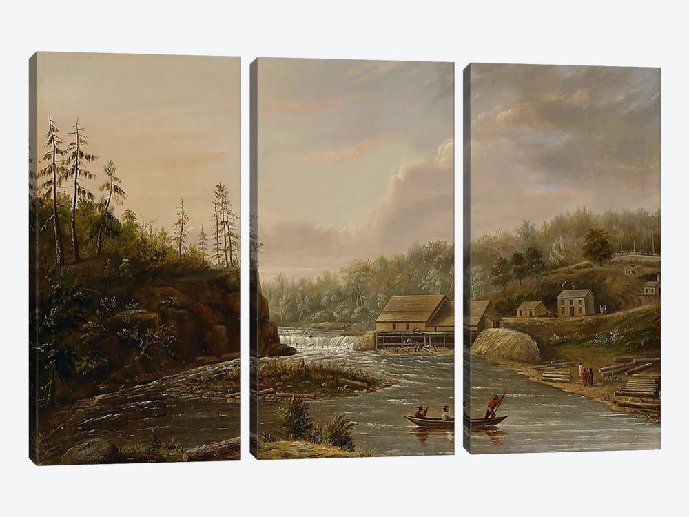 Cheever's Mill on the St. Croix River, 1847  3-piece Canvas Print