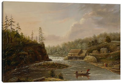 Cheever's Mill on the St. Croix River, 1847  Canvas Art Print