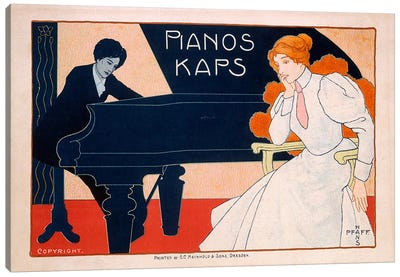 Advertisement for Kaps Pianos, 1890s  Canvas Art Print
