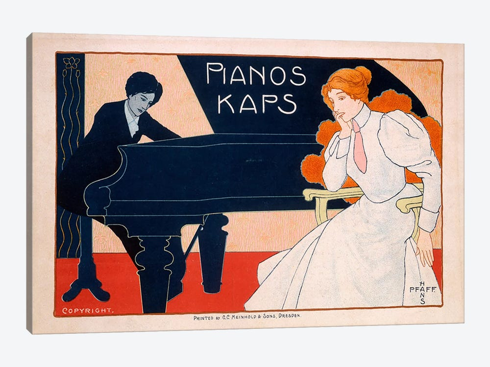 Advertisement for Kaps Pianos, 1890s  by Hans Pfaff 1-piece Canvas Print