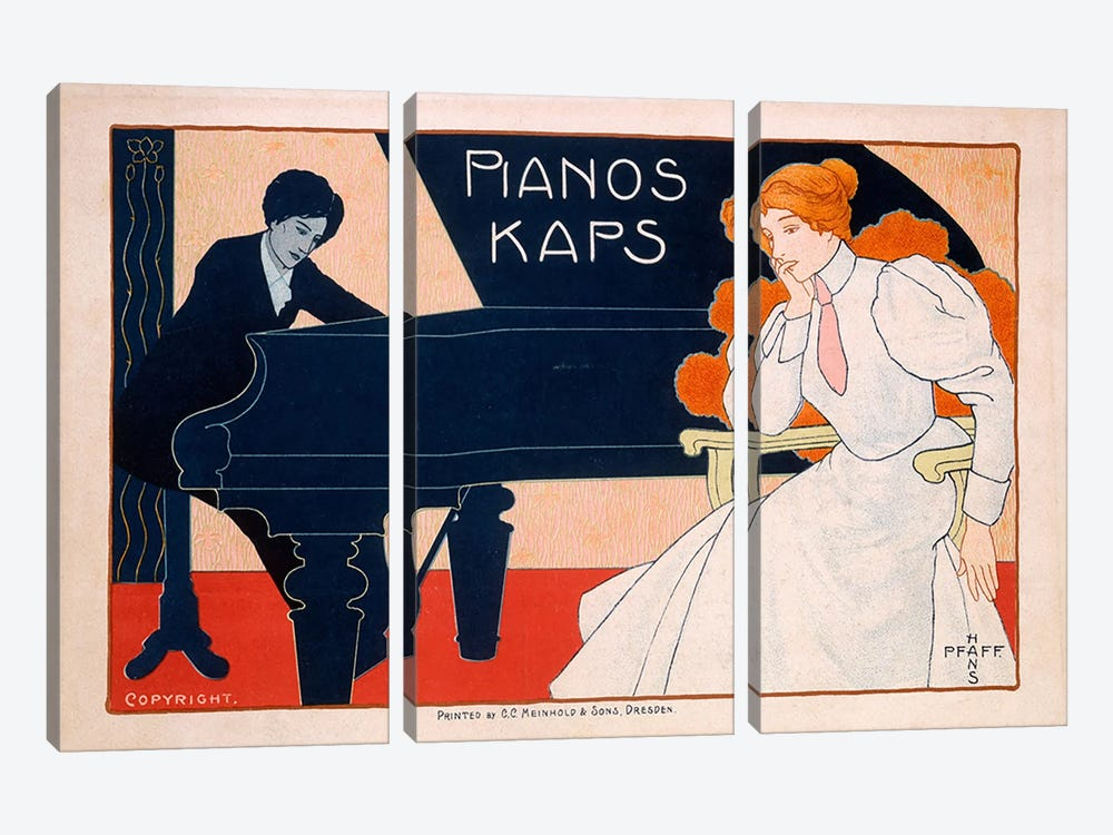 Advertisement for Kaps Pianos, 1890s  by Hans Pfaff 3-piece Canvas Print