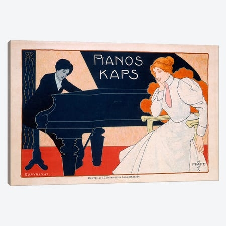 Advertisement for Kaps Pianos, 1890s  Canvas Print #BMN3986} by Hans Pfaff Art Print