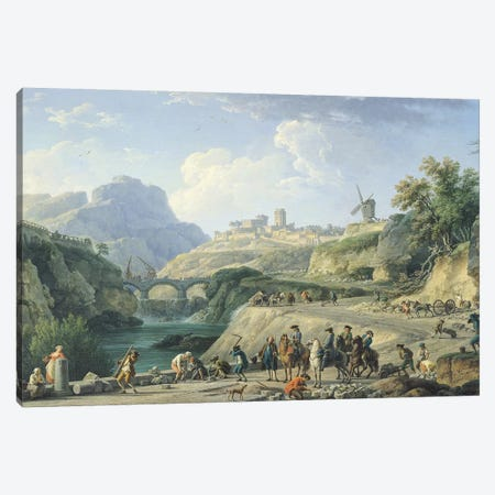 The Construction of a Road, 1774   Canvas Print #BMN398} by Claude Joseph Vernet Canvas Artwork