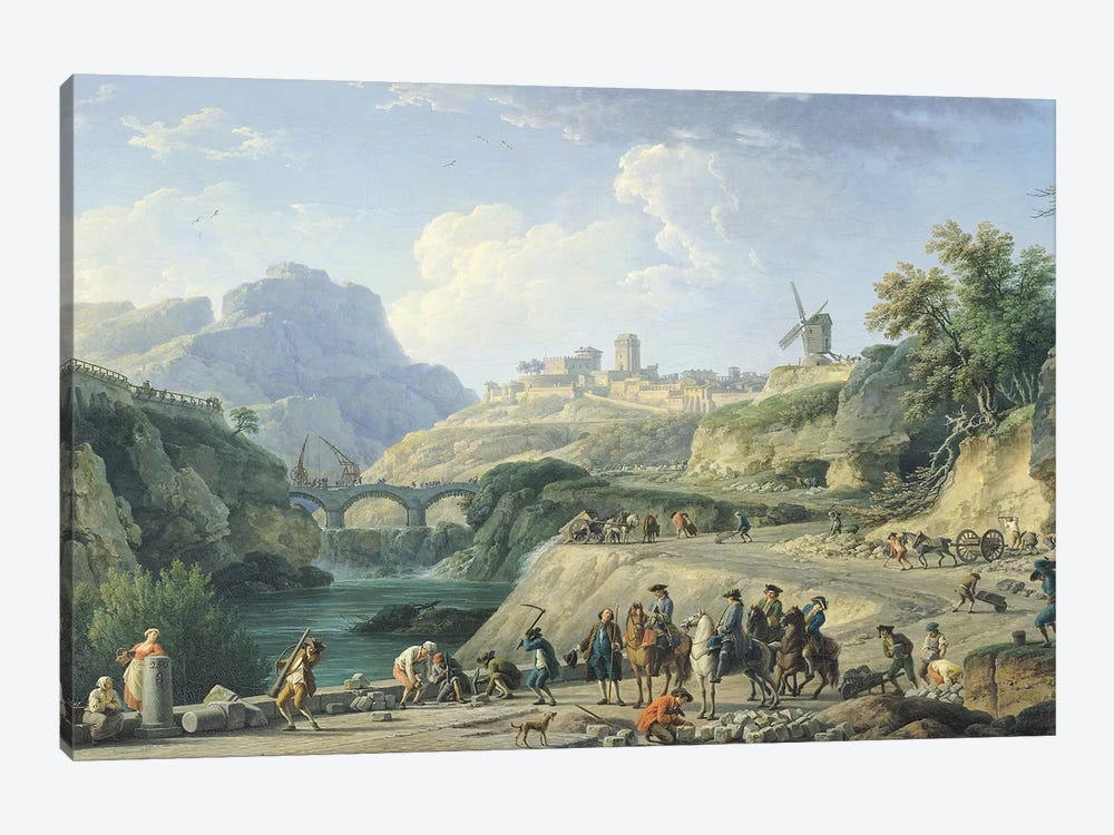 The Construction of a Road, 1774   by Claude Joseph Vernet 1-piece Canvas Artwork