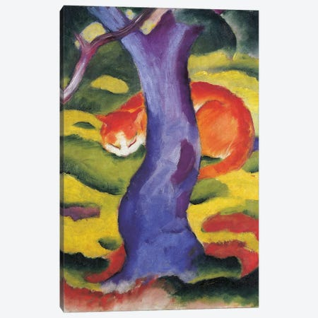 Cat behind tree, 50x70 cm Canvas Print #BMN3990} by Franz Marc Canvas Art Print