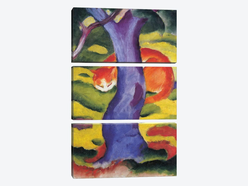 Cat behind tree, 50x70 cm 3-piece Canvas Wall Art