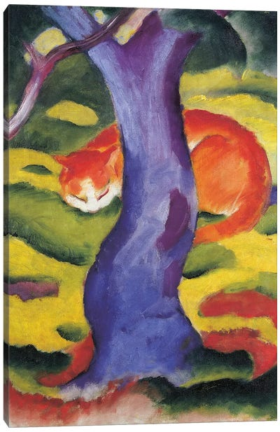 Cat behind tree, 50x70 cm Canvas Art Print