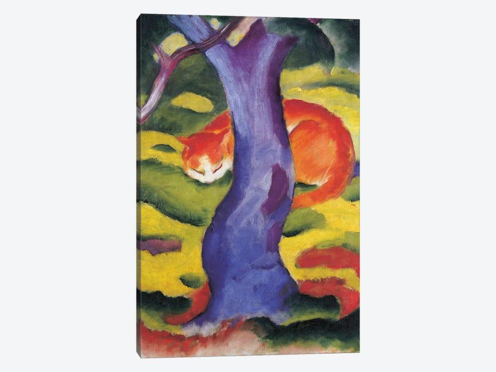 Cat behind tree, 50x70 cm by Franz Marc 1-piece Canvas Art