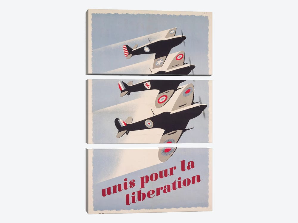 Propaganda poster for liberation from World War II by Unknown Artist 3-piece Art Print