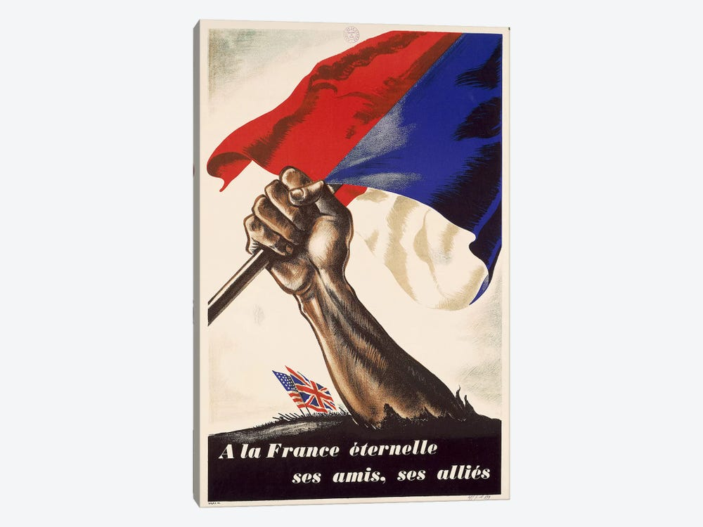 Poster for Liberation of France from World War II, 1944 by Unknown Artist 1-piece Canvas Art Print