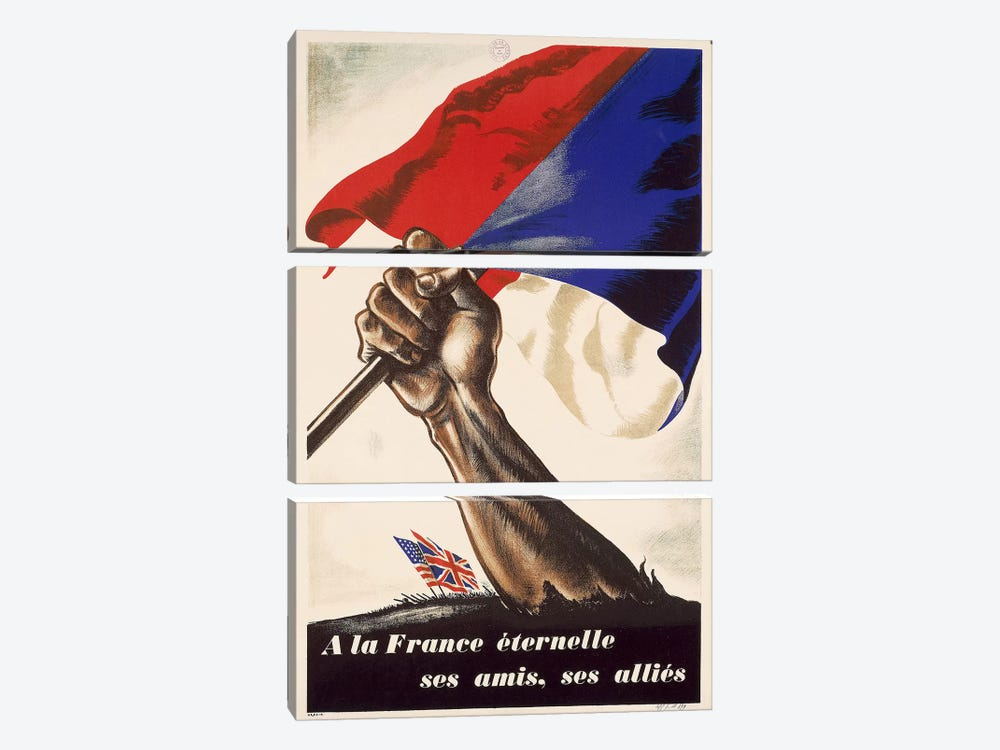 Poster for Liberation of France from World War II, 1944 by Unknown Artist 3-piece Art Print