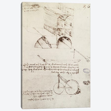 Manuscript B, f 36 r Architectural studies, development and sections of buildings in city with raised streets  Canvas Print #BMN3997} by Leonardo da Vinci Canvas Art