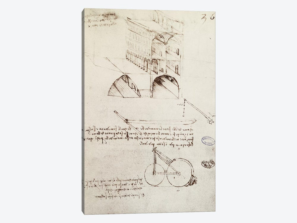 Manuscript B, f 36 r Architectural studies, development and sections of buildings in city with raised streets  by Leonardo da Vinci 1-piece Canvas Art Print