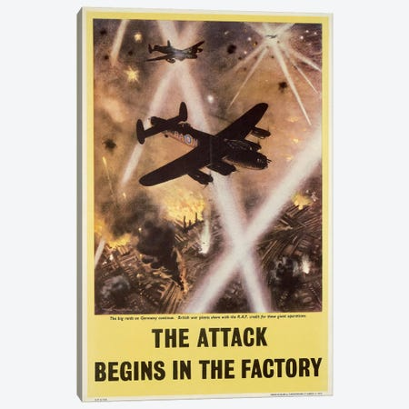 Attack begins in factory, propaganda poster from World War II Canvas Print #BMN3998} Canvas Print