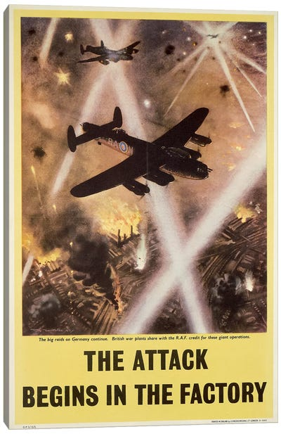 Attack begins in factory, propaganda poster from World War II Canvas Art Print