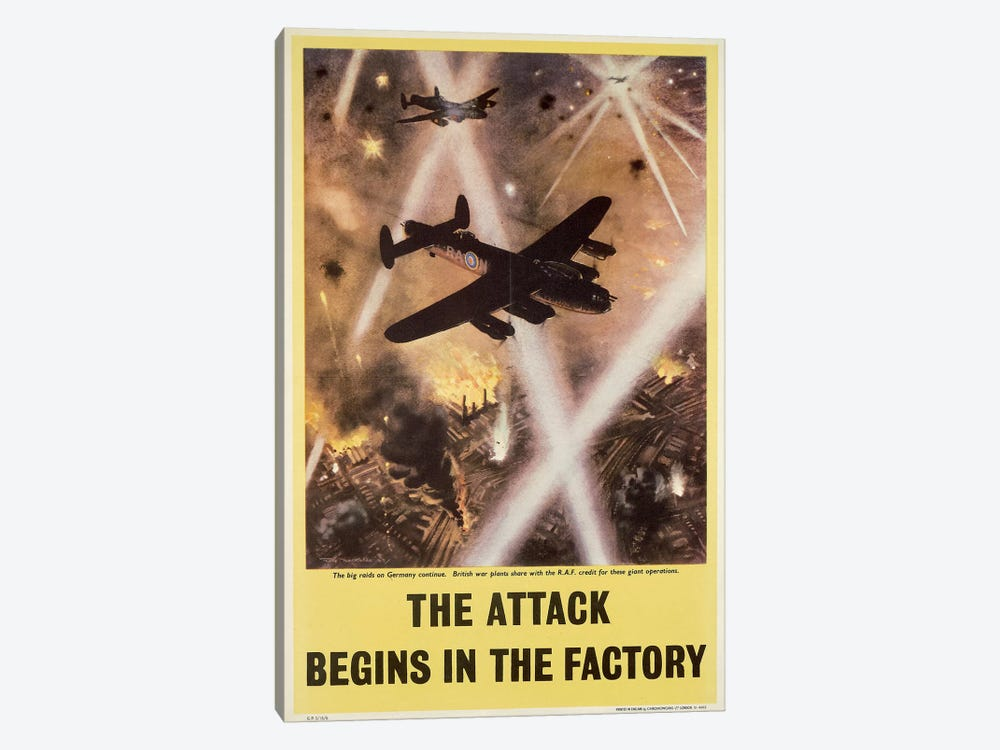 Attack begins in factory, propaganda poster from World War II by Unknown Artist 1-piece Canvas Art