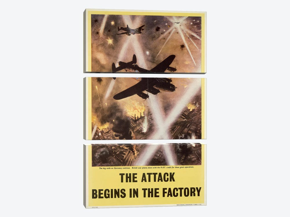 Attack begins in factory, propaganda poster from World War II by Unknown Artist 3-piece Canvas Wall Art