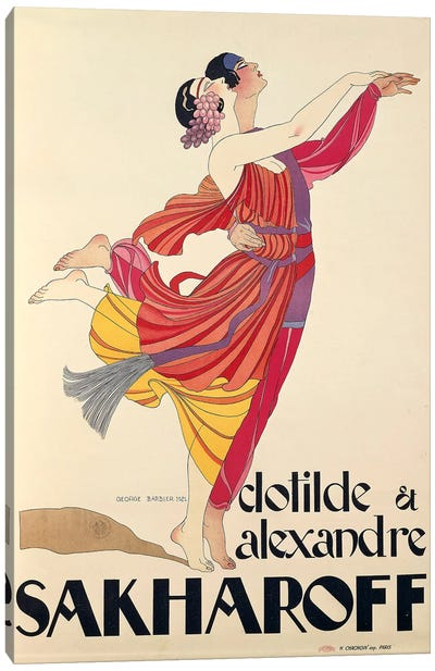 Clotilde and Alexandre Sakharoff by George Barbier , posters, 1921 Canvas Art Print
