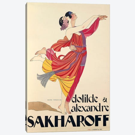 Clotilde and Alexandre Sakharoff by George Barbier , posters, 1921 Canvas Print #BMN3999} by Unknown Artist Canvas Print
