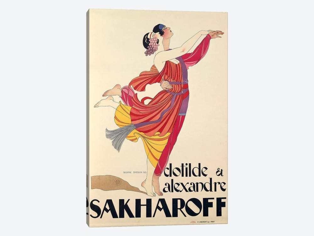 Clotilde and Alexandre Sakharoff by George Barbier , posters, 1921 by Unknown Artist 1-piece Canvas Art Print
