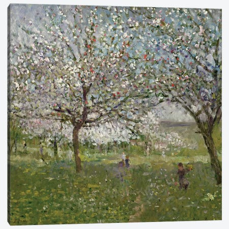 Apple Trees in Flower Canvas Print #BMN399} by Ernest Quost Canvas Art