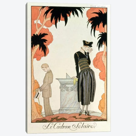 Falbalas et fanfreluches, Almanach des Modes, fashions for 1921 (pochoir print) Canvas Print #BMN3} by Georges Barbier Canvas Print
