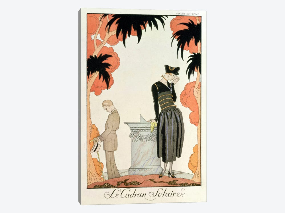 Falbalas et fanfreluches, Almanach des Modes, fashions for 1921 (pochoir print) by George Barbier 1-piece Canvas Art Print