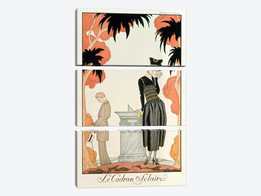 Falbalas et fanfreluches, Almanach des Modes, fashions for 1921 (pochoir print) by George Barbier 3-piece Canvas Art Print