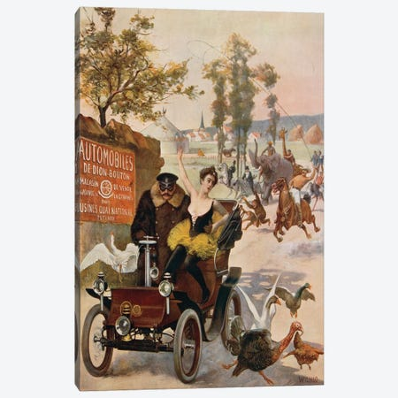 France, Paris, Circus star kidnapped, Wilhio's poster for De Dion- Bouton cars, 1900 3-Piece Canvas #BMN4002} by Unknown Artist Canvas Art
