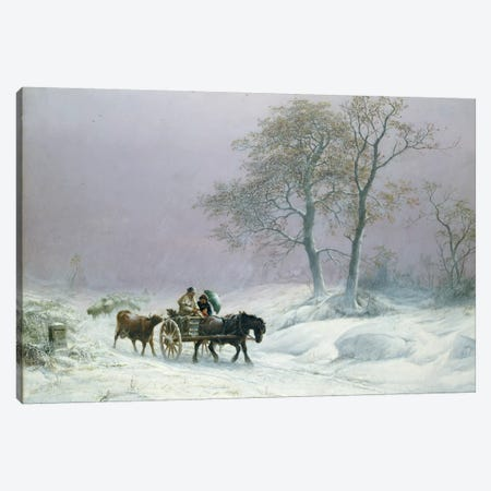 The wintry road to market  Canvas Print #BMN401} by Thomas Sidney Cooper Canvas Wall Art