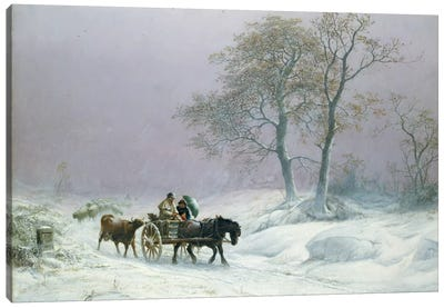 The wintry road to market  Canvas Art Print