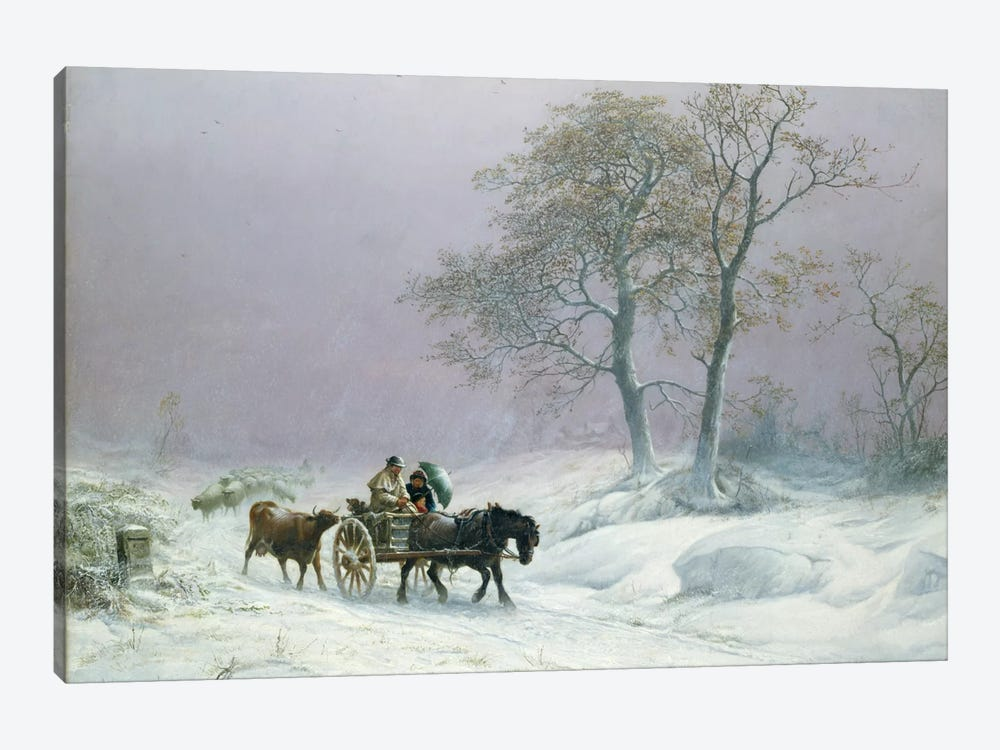The wintry road to market  by Thomas Sidney Cooper 1-piece Canvas Print