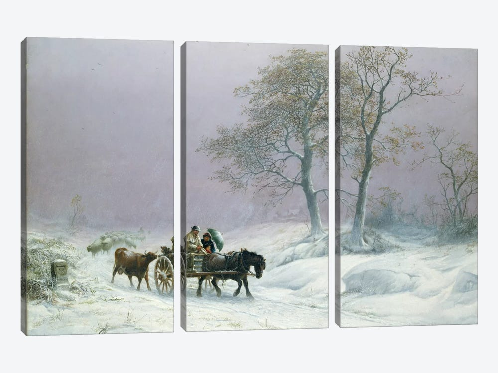 The wintry road to market  by Thomas Sidney Cooper 3-piece Art Print