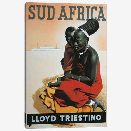 South Africa Lloyd Triestino. Sketch, watercolor and charcoal, 1930 3-Piece Canvas #BMN4044} by Unknown Artist Canvas Art Print