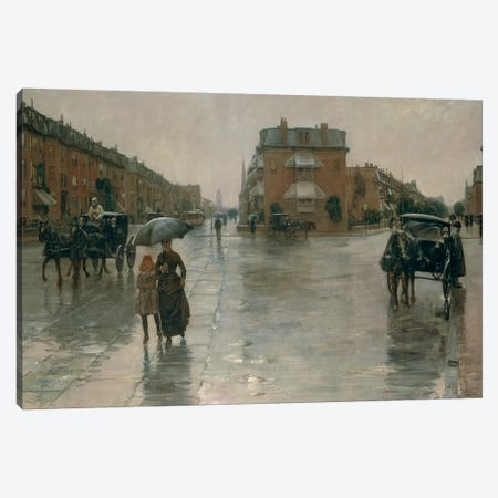Rainy day in Boston, by Frederick Childe Hassam, 1885, oil on canvas Canvas Print #BMN4045} by Unknown Artist Canvas Art Print