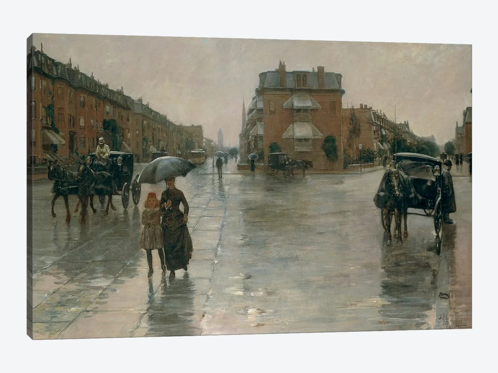 Rainy day in Boston, by Frederick Childe Hassam, 1885, oil on canvas by Unknown Artist 1-piece Canvas Art