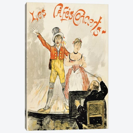 France, Paris, poster of stage performance at Cafe chantant Canvas Print #BMN4073} by Unknown Artist Art Print