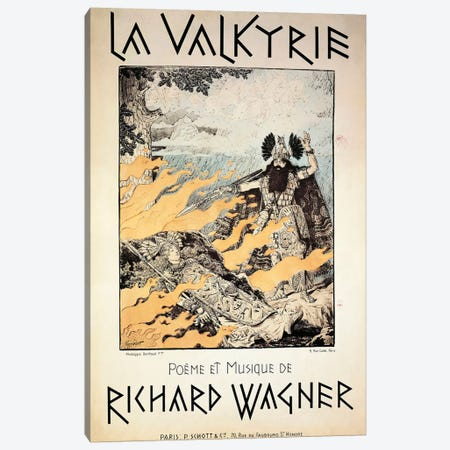 France, Paris, Poster of The Valkyrie by Richard Wagner Canvas Print #BMN4074} by Unknown Artist Canvas Wall Art