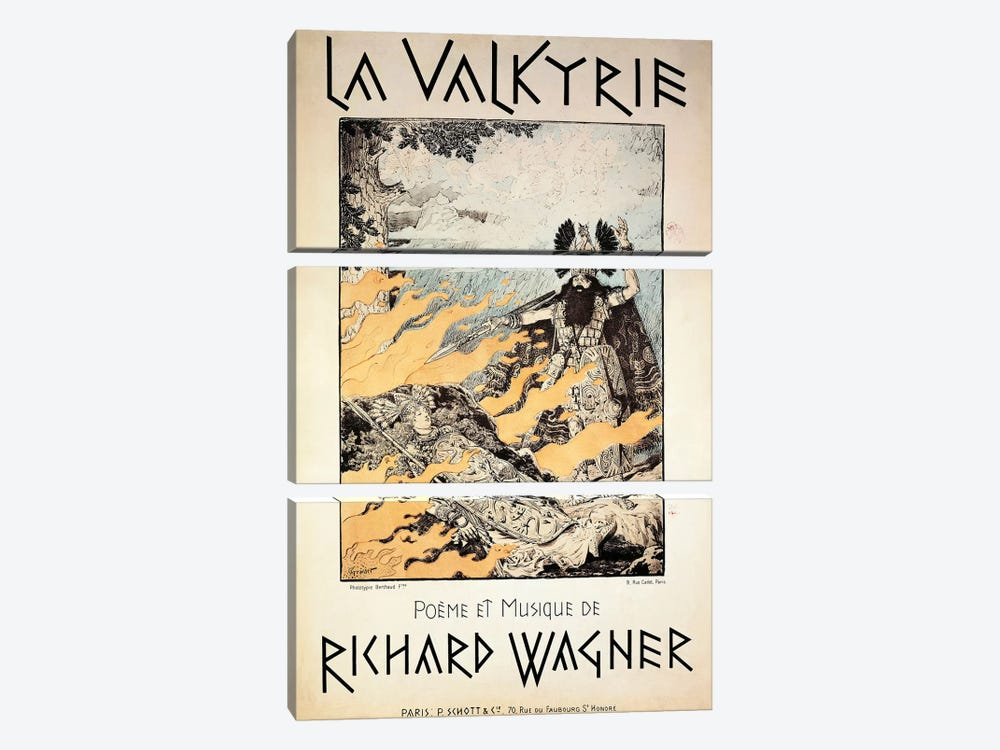 France, Paris, Poster of The Valkyrie by Richard Wagner by Unknown Artist 3-piece Canvas Wall Art