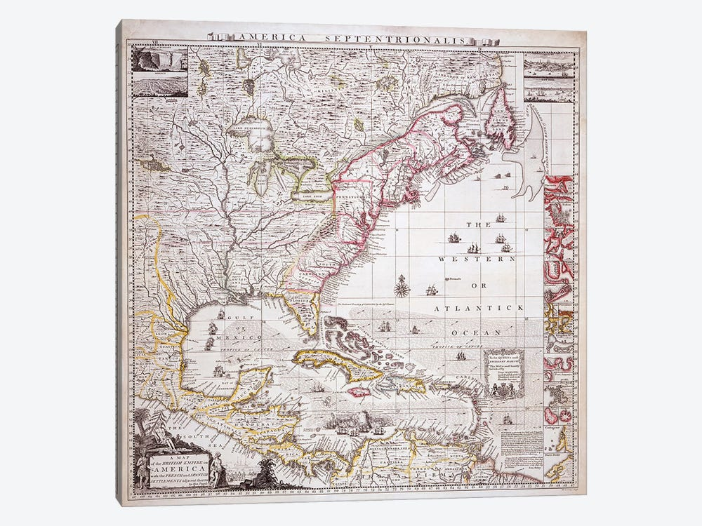 A Map of the British Empire in America with the French settlements adjacent thereto, engraved by William Henry Toms  by Henry Popple 1-piece Canvas Wall Art