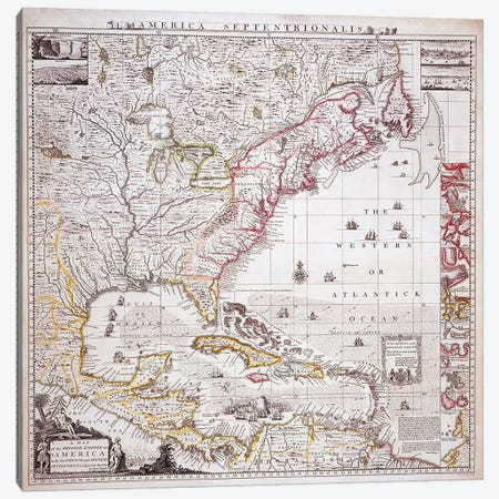 A Map of the British Empire in America with the French settlements adjacent thereto, engraved by William Henry Toms  Canvas Print #BMN4081} by Henry Popple Canvas Artwork