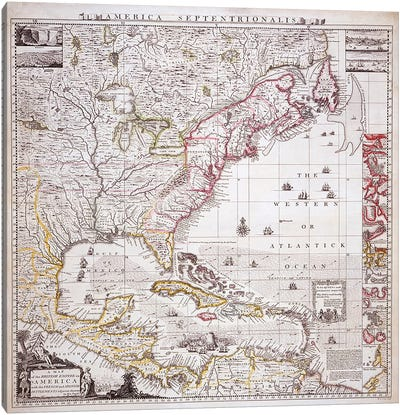 A Map of the British Empire in America with the French settlements adjacent thereto, engraved by William Henry Toms  Canvas Art Print