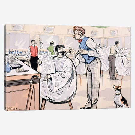 At the barber and reading 'Le Jockey', c.1905  Canvas Print #BMN4082} by E. Thelem Canvas Wall Art