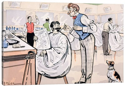 At the barber and reading 'Le Jockey', c.1905  Canvas Art Print