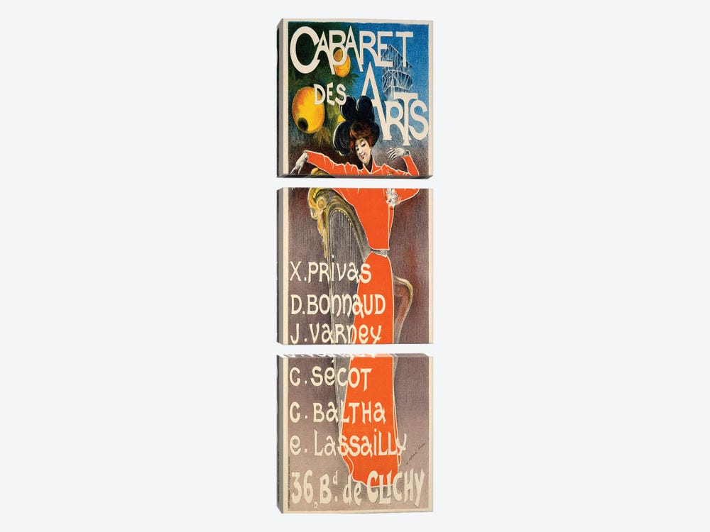 Poster for 'Cabaret Des Arts', c.1900  by Charles Lucas 3-piece Canvas Art Print